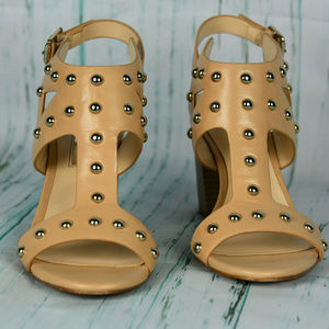 INC Tan Gold Studded Wood Sandals Size 6.5